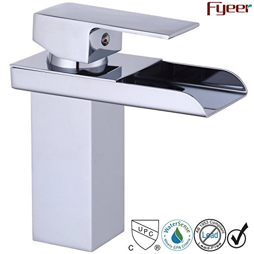 Chrome Commercial Single Handle (Fyeer Waterfall Style Bathroom Sink Faucet, Single Handle, Chrome Finish, Contemporary Design, Lead Free Certified, Hot & Cold Mixer, Easy Installation)