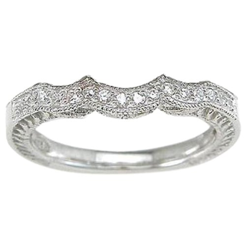 CZ Wedding Band for 3 Stone Engagement Ring .925 Sterling Silver (10) (3 Stone Setting)