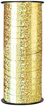 Healifty バレンタインギフトのための光沢のあるカーリングリボンロールメタリックストリングクラフトバルーンリボン(2個)(ゴールデンとシルバー)