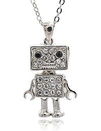 Crystal Crumbling Box Robot Necklace