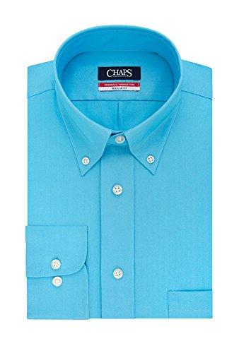 Chaps Men's Regular Fit Wrinkle Free Herringbone Twill Long Sleeve Dress Shirt (16-16.5 Neck 32/33 Sleeve, - Long Dress Shirt Sleeve Herringbone