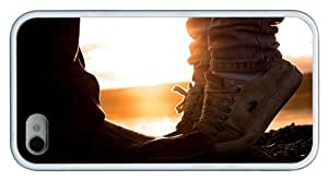 Hipster durable iPhone 4 case romantic sunset kiss TPU White for Apple iPhone 4/4S