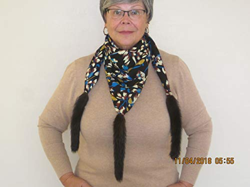 (Genuine REAL MINK tails accent scarf)
