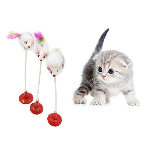Amazon.com : Best Quality pet seat Scratch Toy cat Toys Feather False Mouse Bottom Sucker cat Kitten Playing Toys : Pet Supplies