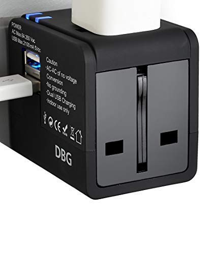 Small Worldwide Travel Adapter Portable Lightweight Mini Fordable Compact International All-in-one with Dual USB Black Charger Wall Plug Converter Fast Charging iPhone iPad Mac Book Laptop Samsung