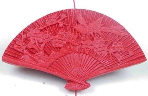 (1 Bead) 34x60mm Red Cinnabar Fan Pendant Bead