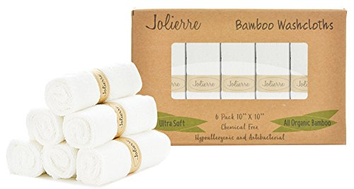 Jolierre Baby Washcloths | Perfect Gift Box | Organic Bamboo Towel | Ultra Absorbent & Extra Soft Towels for Sensitive Skin | Newborns & Infants & Toddlers | Baby Shower
