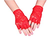 DreamHigh Women Wrist Length Lace Half Finger Gloves