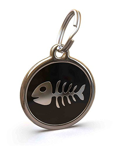 - UNLEASHED.DOG Customizable Engraved Cat/Dog ID Tag - Stainless Steel with Fishbone Enamel Inlay - Black | Small
