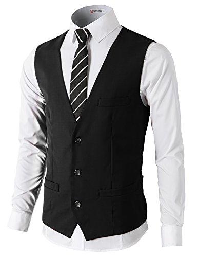 H2H Mens Formal Slim Fit Premium Business Dress Suit Lightweight Vests BLACK US L/Asia XL (CMOV032) - 3 Button Business Suit