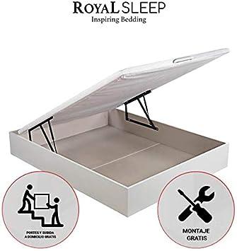 ROYAL SLEEP Canapé Abatible (90x190) de Gran Capacidad, Tapa 3D Transpirable, Color Blanco