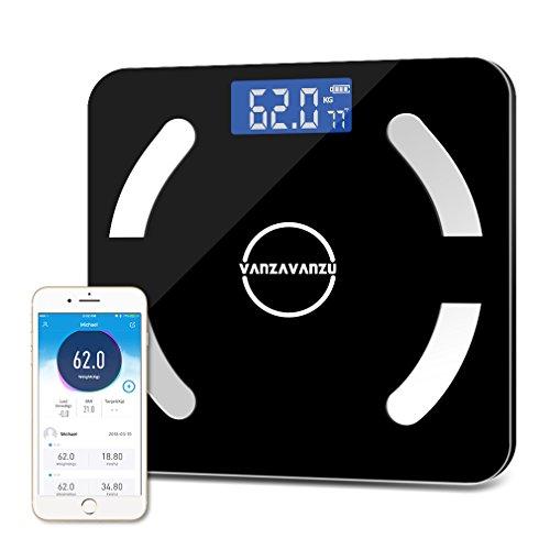 Smart Scale Bluetooth BMI Fat Weight Scale Backlight Display App Control - Sync to iPhone X 8 7 Samsung Galaxy S9, Measure Body Fat, Muscle Mass, Bone Mass (Black) by VANZAVANZU