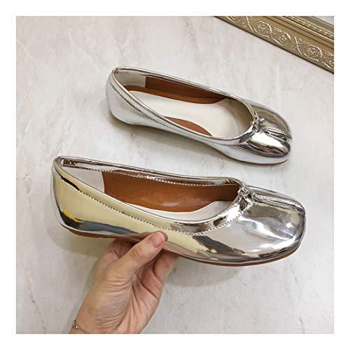 Puntiagudo Plano del 44 Microfibra WULIFANG Taladro Ballet Zapatos Planos Inferior Superficial Verde Soft Fondo Satinado Casual Plateado qxRxE4wIpX