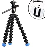 GorillaPod Video Tripod (Black/Blue) and a Bonus Universal Smartphone Tripod Mount Adapter works for iPhone 6, 5, 5s, 5c, 4, 4s HTC One, Galaxy S2, S3, S4, S5, S6, Blackberry Z10,Q10, Motorola Droid and Most Smartphones