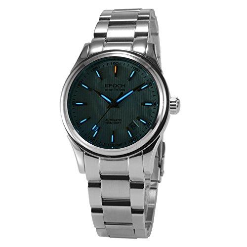 EPOCH 6029G tritium gas blue luminous steel strap sapphire mirror mens business automatic seld-wind mechanical watch wristwatch -  EPOCH 6029G N blue steel white