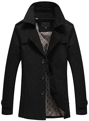 Lightweight Single Fit Men's Coat black Trench Collar Chouyatou Slim 1212 Lapel Breasted w7xqSFBS
