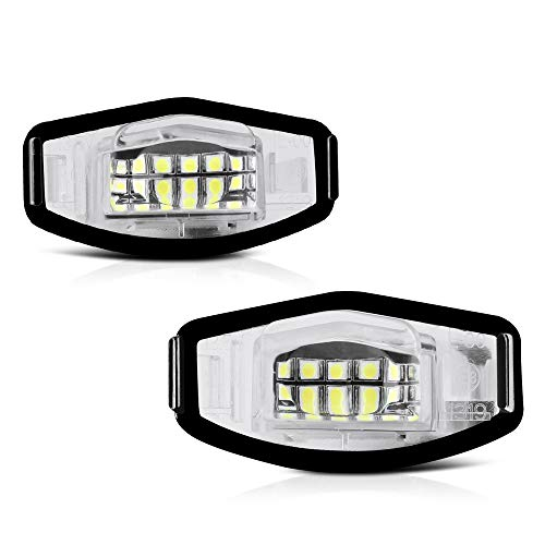 VIPMOTOZ Full LED License Plate Light Lamp Assembly Replacement For Honda Accord Sedan Odyssey Pilot Civic & Acura MDX TSX TL ILX RDX RL - 6000K Diamond White, 2-Pieces