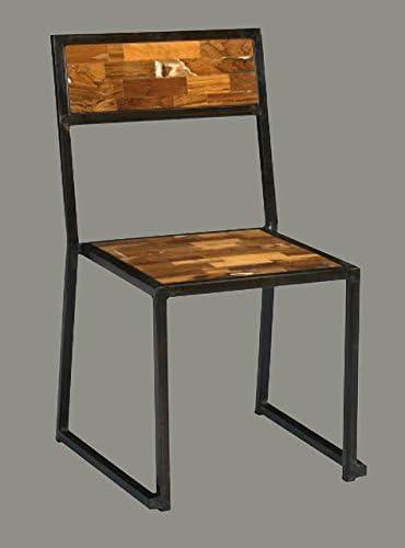 Sedie In Ferro E Legno.Art Gr02 Gruppo 4 Sedie Industrial In Ferro E Legno Amazon It