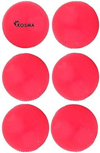 color rosa Pelota de pr/áctica para interiores y exteriores Kosma Juego de 6 pelotas de cricket de viento