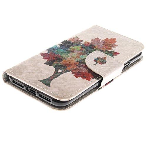 iPhone X Hülle Farbiger Baum PU Leder Wallet Handytasche Flip Etui Schutz Tasche mit Integrierten Card Kartensteckplätzen und Ständer Funktion Für Apple iPhone X / iPhone 10 (2017) 5.8 Zoll + Zwei Ges