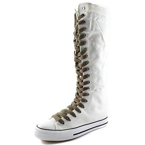 Dailyshoes Toile Femme Mi-mollet Bottes Hautes Casual Sneaker Punk Plat, Bottes Blanches, Dentelle Taupe
