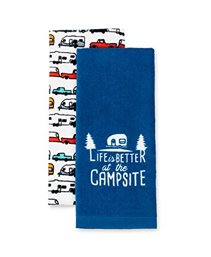 Camco Life is Better at The Campsite RV Towel Perfect for Drying Hands and Dishes-Includes a Set of (2) Towels-27-Inches x 16-1/2-Inches (53301), 2 Pack
