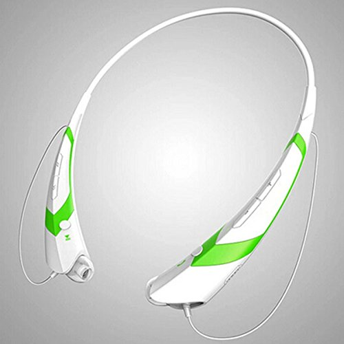 Bluetooth Wireless Headset Stereo HiFi Bass Earphone Sport Headphone Handfree Microphone, Neckband Sports Earbuds Sweatproof for Running, 10 Hours Play Time (White Green)