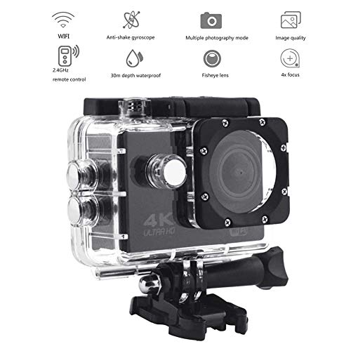 CAPTIANKN 4K WiFi Sports Camera Kit - 30M Waterproof 2.0'' LCD Screen Sports Camera Ultra HD 170° Wide Angle