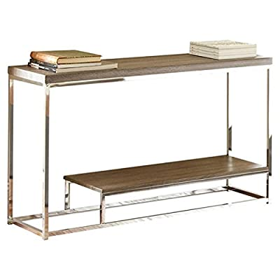 """Steve Silver Company Lucia Sofa Table, 47"""" x 16"""" x 29"""", Gray/Brown - Dark driftwood grey and chrome Durable Silver shield 3D PVC laminates and chrome Lower shelf for storage and display options - living-room-furniture, living-room, console-tables - 41hj8ORY1zL. SS400  -"""