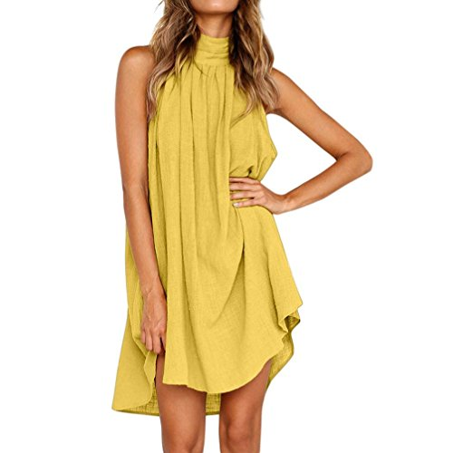 Womens Holiday Dress Irregular Back Button Turtleneck Sleeveless Sundress Zulmaliu (Yellow, -