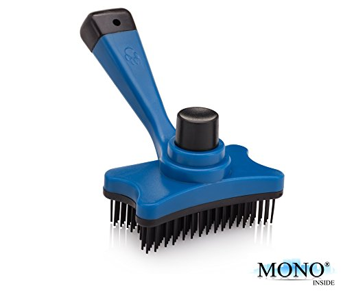 "MONOINSIDE Slicker Pin Brush for Dogs and Cats, Pet Hair Brush, Self-Cleaning Fur Grooming Bristle for Your Puppy and Kitten, Plastic, 5"" x 3"" Inches, Blue"
