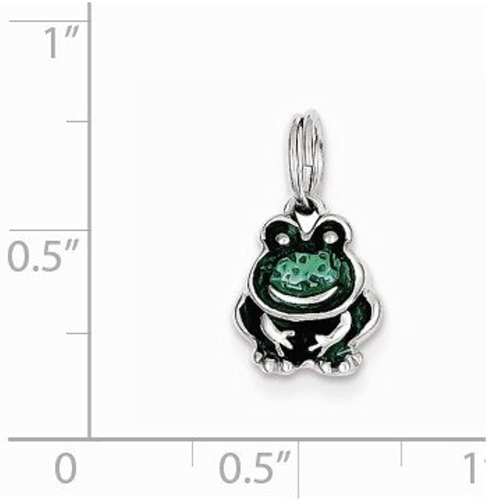 Mireval Sterling Silver Green Enameled Frog Charm on a Sterling Silver Carded Box Chain Necklace 18