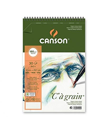 'Canson 400060604°C A Grain Lightly Grained Drawing Paper 180g/m², A4+, 30Sheets per pad-210x 322-White Spiral on Short Edge