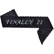 Famoby FINALLY 21 Satin Birthday Sash for 21th Birthday Party Decorations