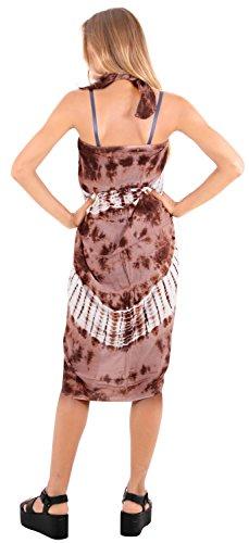 traje de baño ropa de playa encubrir las mujeres del traje de baño de la piscina pareo desgaste envoltura traje de baño ropa de playa de color marrón