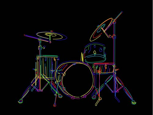 12 X 16 INCH / 30 X 40 CMS MULTCOLOURED DRUM SET DRUMS DRAWING STICKS PHOTO FINE ART PRINT POSTER BMP521B ()
