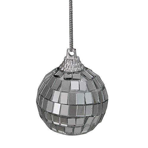Northlight 9ct Silver Splendor Mirrored Glass Disco Ball Christmas Ornaments 1.5