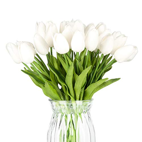 Meiliy 30pcs White Tulips Artificial Flowers Real-Touch Tulips for Home Decorations Room Centerpieces Arrangement Wedding Bouquets Corsages ()
