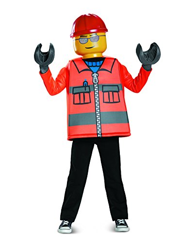 Disguise Lego Construction Worker Classic Costume, Orange, Large (10-12) -