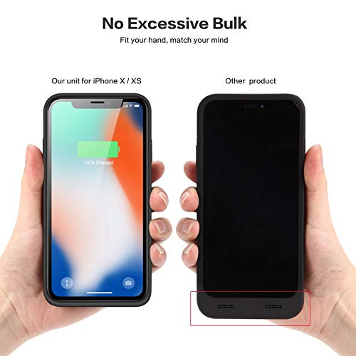 6500mAh Backup Power Bank Cover QTshine Newest Battery Case for iPhone X//XS//10 Black Protective Portable Charging Case Rechargeable Extended Battery Pack for Apple iPhone X//XS//10 5.8