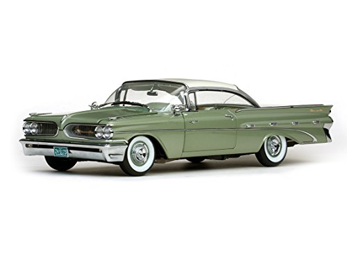 1959 Pontiac Bonneville Hard Top Cameo Ivory/Dundee Green Platinum Edition 1/18 by Sunstar 5173