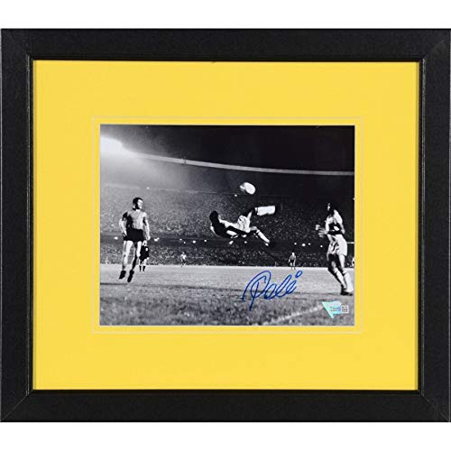 (Pele Brazil FAN Authentic Framed Autographed Signed 8x10 Black & White Bicycle Kick Side View Photograph Autographed Signed In Blue - Certified Signature)