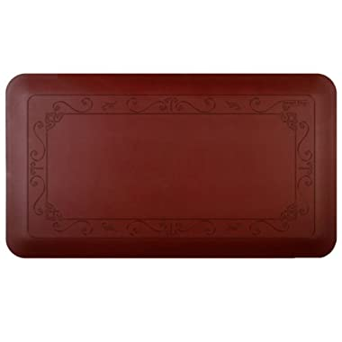 Smart Step Home Collection 36 Inch by 20 Inch Fleur-de-Lys Mat, Burgundy