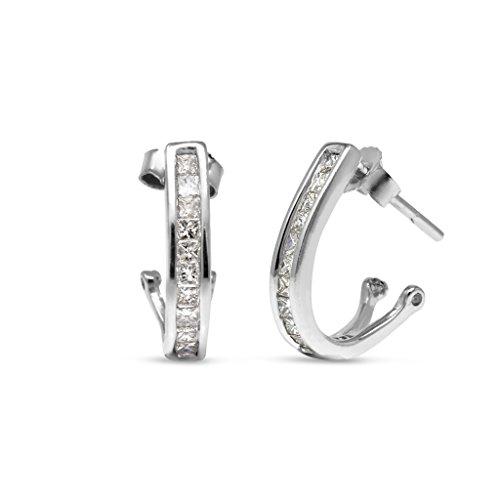 TriJewels Diamond Half Hoop Earrings 0.30 Carat tw in 14K White Gold