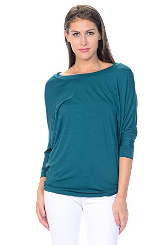 (Jubilee Couture Women's Solid Color Dolman 3/4 Sleeve Pullover Tee Shirt Top Blouse (Large,Teal))