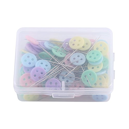 100pcs Flower/Bow Tie/Button Head Patchwork Quilting Pins Fine DIY Tool Sewing Accessories with Plastic Storage Box (Button Model)