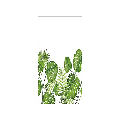 3D Decorative Film Privacy Window Film No Glue,Leaf,Nature Jungle Forest Rainforest Inspired Leaves Plant Foliage Swirls Botanic Image Decorative,Light Green,for Home&Office ()