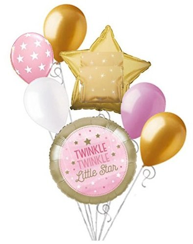 7 pc Twinkle Little Star Baby Girl Balloon Bouquet Party Decoration Shower ()