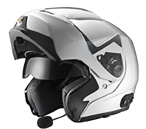 GLX Modular Helmet with Built-In Bluetooth Communication System (Silver, X-Large)