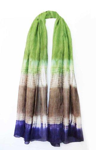 (100% Habotai Silk Hand Tie Dyed Crinkled Stole 42